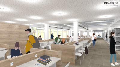 Vue intérieure - Bibliothèque universitaire provisoire Lyon 2 - Porte des Alpes
