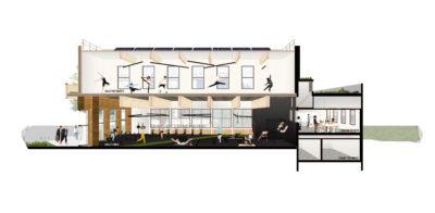 Coupe perspective - Maison des Sports Campus Porte des Alpes