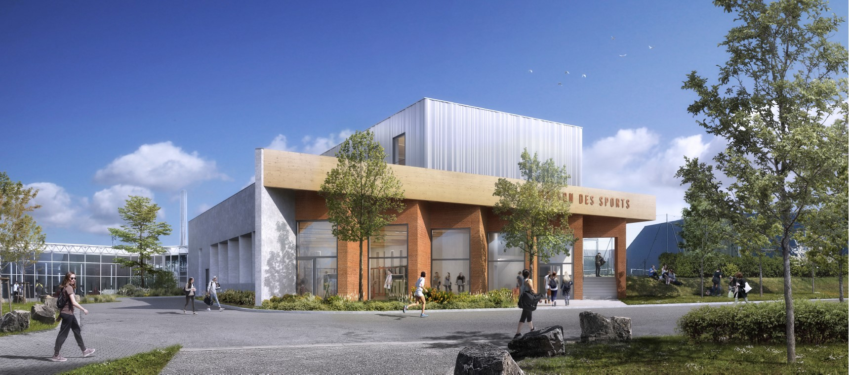 Perpective extérieure - Maison des Sports Campus Porte des Alpes