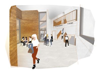 Vue du hall - Maison des Sports Campus Porte des Alpes